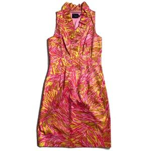 Just Taylor Groovy Tropical tuxedo faux wrap dress